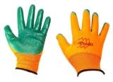 Перчатки нейлон нитрил облив (оранж-зелен) (12/960)
